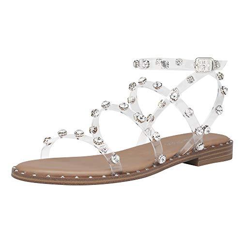 DREAM PAIRS Women's Dfs211 Gladiator Cute Summer Flat Sandals,Transparent TPU Clear,Size8