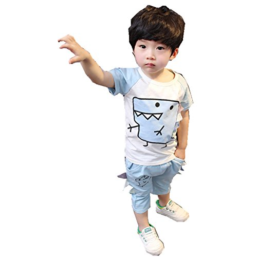 ftsucq-little-boys-dinosaur-pattern-shirt-top-with-middle-pants-two-pieces-setsgreen-110