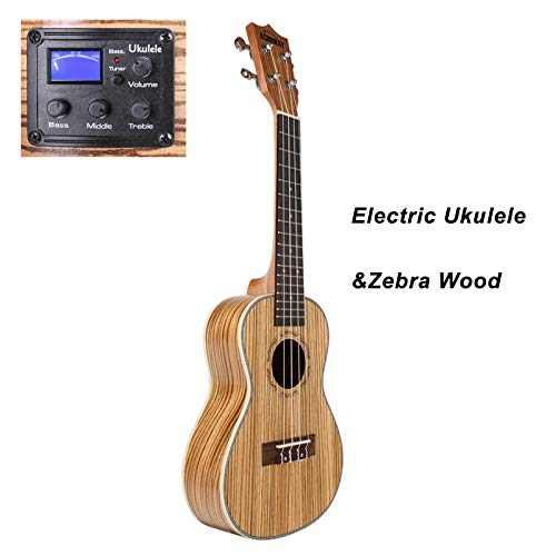 YWARG Ukulele Soprano Concert Ukulele 21 23 Inch Uku Ukelele with ABS Binding Hawaii Guitar Stringed Musical Uku with EQ 21 ()
