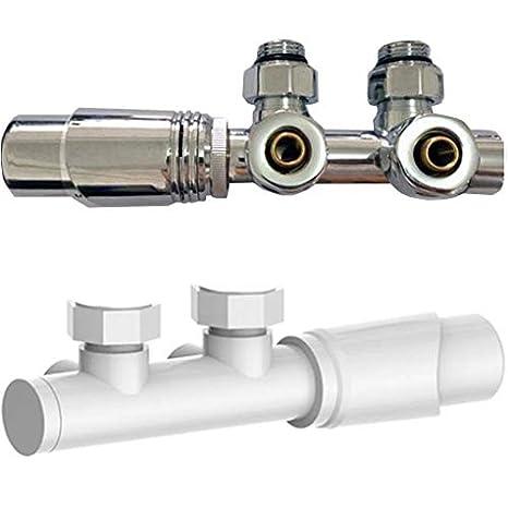 Farbe w/ählbar Mittelanschlussgarnitur mit Thermostat f/ür Heizk/örper Farbe:Wei/ß
