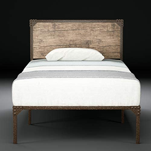 Urest Twin Bed Frame with Headboard Mattress Foundation Platform Bed Easy Assembly No Box Spring Needed Strong Metal Slat Support, Snow Brown
