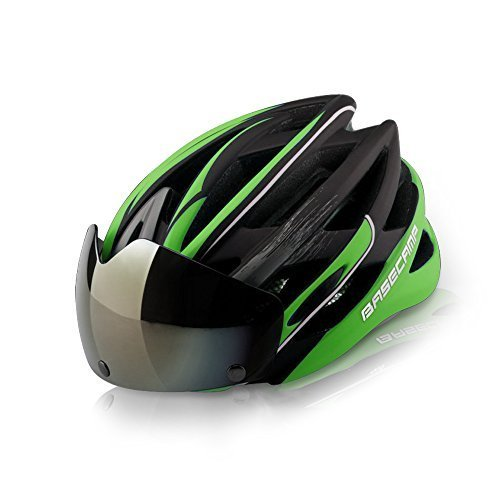 Multi Vent Mask (Base Camp Helmet with Detachable Goggles Vents Multi-sport Professional Cycling Bicycle Bike Helmet (Green))