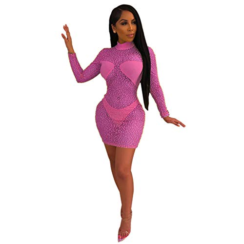 (Kafiloe Womens Sexy Cocktail Mini Dress - Long Sleeve See Through Mesh Sheer Party Evening Dresses Leopard Neon Rose L)