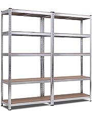 COSTWAY 5-Laags stellingkasten 2 stuks, 180 x 40 x 180 cm, 875 KG gewichtscapaciteit, opbergrek, zware werk opslag rek, in hoogte verstelbare legborden, legplank zonder bouten, stellingkast garage opslag planken opslagrek kelderrek