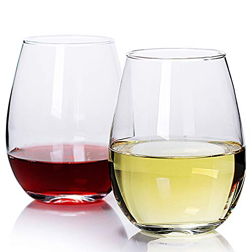 Bavel Stemless Wine Glasses,19oz,set of 4,Large Stemless Glass Holds Full Bottle of Wine.Red Wine & White Wine glasses sets for retirement,gifts,clear