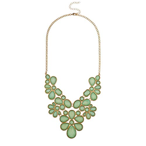 Lux Accessories Gold Tone Mint Green Flower Floral Stone Statement Bib Necklace for -