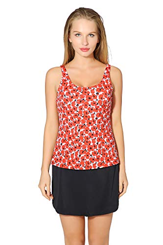 Saejous Women 2 Pieces Vintage Floral Printed Swimsuit Plus Size Tankini Set with Swim Dress Orange