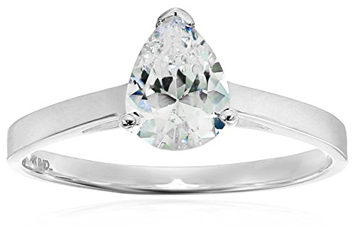 14k White Gold Cubic Zirconia Pear Shaped Solitaire Engagement Cathedral Engagement Ring, Size (14k Cathedral Solitaire)