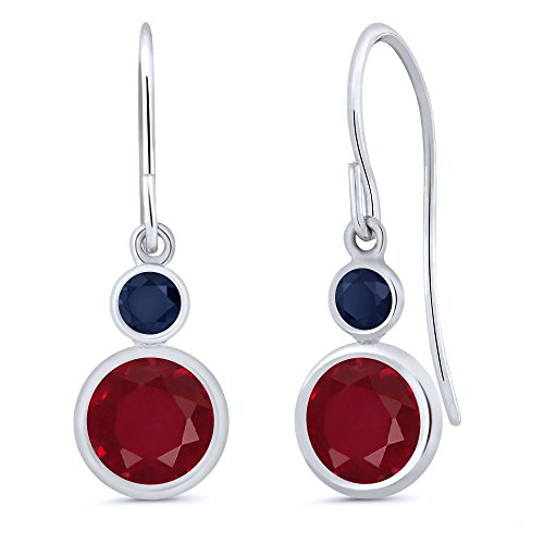 - Gem Stone King 2.26 Ct Round Red Ruby Blue Sapphire 14K White Gold Earrings