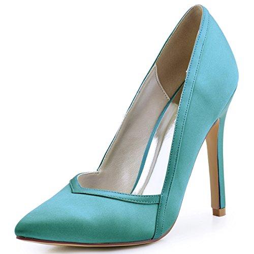 ElegantPark Womens Pointed Toe High Heel V Cut Slip On Satin Dress Pumps Turquoise BbLvUnv