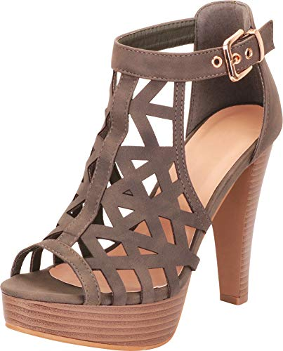 - Cambridge Select Women's Open Toe Cutout Caged Chunky Stacked Platform High Heel Sandal,7 B(M) US,Olive Green NBPU