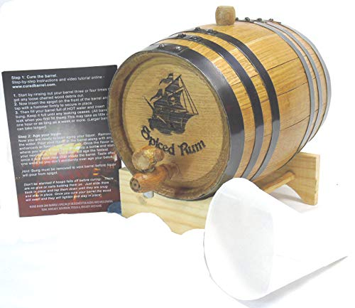 Engraved 2 Liter Charred American White Oak Aging Barrel (Pirate Ship Rum) (Rum Barrel)