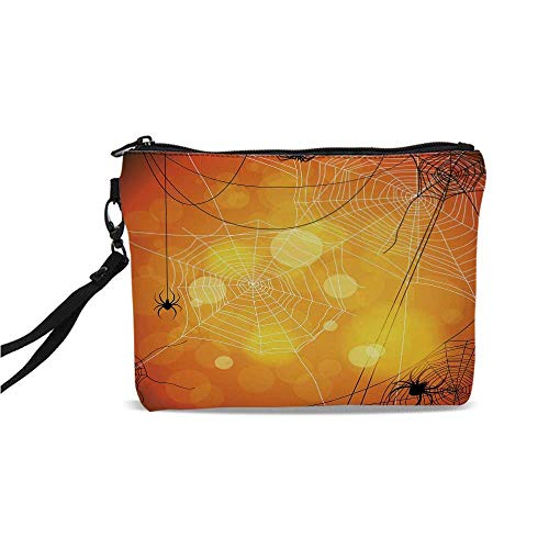 (Halloween Simple Cosmetic Bag,Spiders Arachnid Insects Cobweb Thread Trap on Abstract Bokeh Backdrop Decorative for Women,9