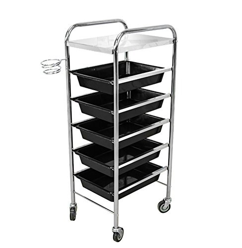 Salon Storage Trolley Hairdresser Black Barber Hair Beauty 5 Drawers Spa Roller Cart with Hair Dryer Rack by SalonTrolley