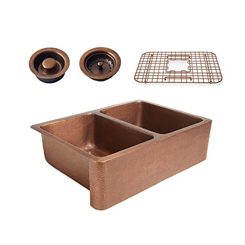 - Sinkology K2A-1005-WG-BD Rockwell Combo Grid and Drains Copper Kitchen Sink