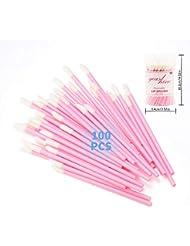 YEASHINE 100 PCS Disposable Lip Brush Lip Gloss Applicator Lipstick Makeup Brush Beauty Tools (Brelar, Pink Hollow Handle)