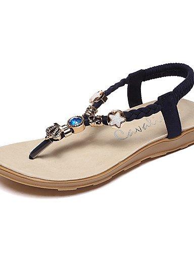 LFNLYX Zapatos de mujer-Tacón Plano-Tira en T / Chanclas / Punta Redonda-Sandalias-Exterior / Casual-Semicuero-Negro / Rojo / Beige Black