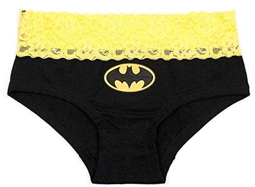 Batman Logo Yellow Lace Womens Underwear Panties Lingerie