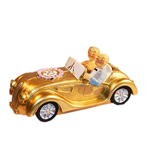 Nanxin Love Grandparents Parents 50th Anniversary Wedding Statues Golden Marriage Loving Elderly Couples in Golden Car Collectible Figurines Old Age Life Resin Home Decoration Money Box with Gift Card