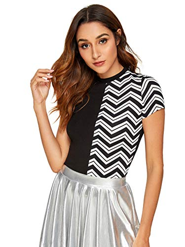 SheIn Women's Checkered Colorblock Crewneck Short Sleeve Fitted Tee T-Shirt Top Small Black#2