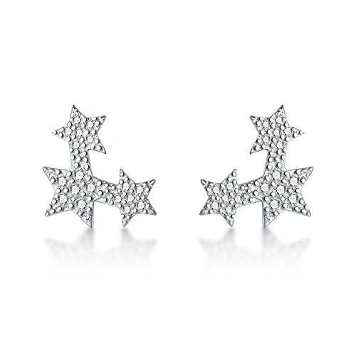 FarryDream 925 Sterling Silver Cubic Zirconia Star Earrings Studs for Women Teen Girls Star Climber Ears Wrap