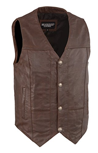 Milwaukee Leather Men's Western Style Vest w/Buffalo Snaps & Interior Gun Pockets (4X - Big, Brown)