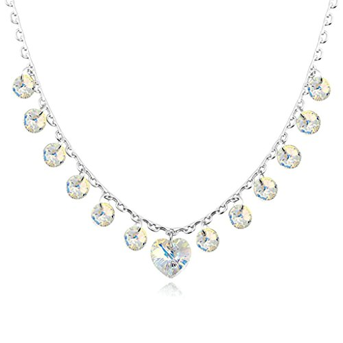 14kt Gold Pave Curb Chain (Daesar Gold Plated Women's Heart Round Necklace Rhinestone CZ Pendant Necklace for)