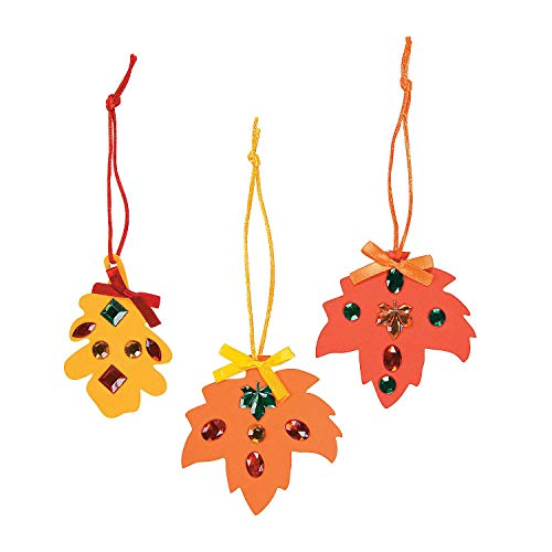 Fun Express - Rhinestone Fall Leaves Craft Kit for Thanksgiving - Craft Kits - Ornament Craft Kits - Foam - Thanksgiving - 12 Pieces