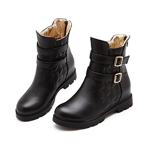 Urethane 1TO9 Solid Bootie Manmade No Waterproof Smooth MNS02607 Wrap Ankle Zip Black Warm Rubber Lining Boots Boots Heel Top Leather Womens Low rqUzrT