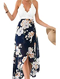 Women's Casual Chiffon Floral Printed Irregular Party Cocktail Dresses
