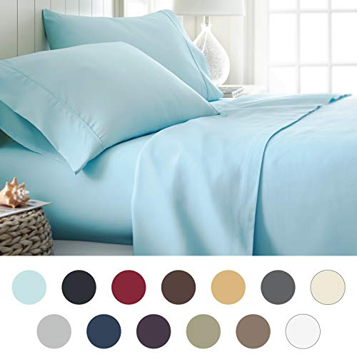 ienjoy Home Hotel Collection Luxury Soft Brushed Bed Sheet Set, Hypoallergenic, Deep Pocket, Queen, Aqua (Aqua Washer And Dryer)