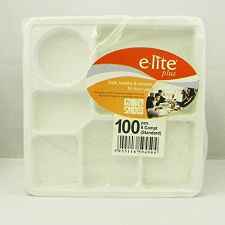 Plastic Plates 6 Compartment 100pcs: Amazon.co.uk: Kitchen & Home