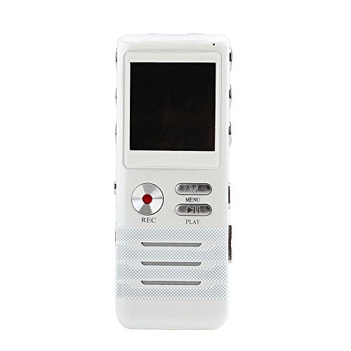 Digital Voice Recorder, eBoTrade PRO Portable Rechargeable 8GB Double Microphone HD Recording Audio Dictaphone MP3 FM Player White