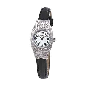 Ladies Watch Swarovski Crystals Watch Black Leather Strap Small Face Petite – Riana RCW0059