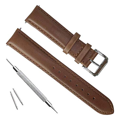 Handmade Vintage Replacement Leather Watch Strap/Watch Band (21mm, Oil Wax Leather/Brown) ()