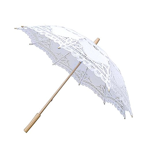 big-time Lace Parasol Umbrella,Handmade Compact White/Black/Beige Wooden Handle Dome Umbrella Classic Decorative Umbrella for Weddings Decoration,Bridesmaid,Girls,Photo Props and Garden Party