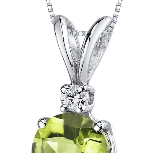 Or blanc 14carats Diamant rond 1.00carats Peridot Pendentif