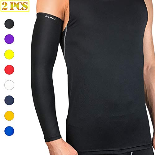 a60a665be8 HiRui Arm Compression Sleeve, Arm Guards Elbow Brace for Basketball  Football Volleyball Baseball Golf Cycling-Arthritis, UV Protection-Guard  for Youth Adult ...