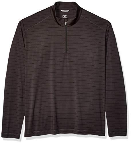 Cutter & Buck Men's Moisture Wicking Drytec UPF 50+ Stripe Half Zip Pullover, Holman Black Heather, X-Large