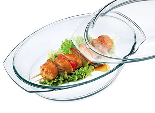 Oval Heat-Resistant Dish with 3.6 L Lid, one size clear ()