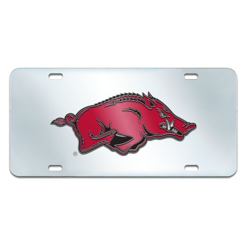 FANMATS NCAA University of Arkansas Razorbacks Plastic License Plate (Inlaid) by Fanmats