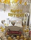 TRISHRA (Reg. TM) Happy Birthday 13 Letter foil Balloon(Golden)+Metallic Finish Balloons( Golden and Silver)(Pack of 50 pcs)