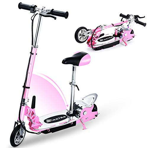 Overwhelming Upgrade Adjustable Handlebar Height and Seat Folding Electric Scooter for Kids,177lbs Max Weight Capacity Motorized Bike with Removable Seat -Pink
