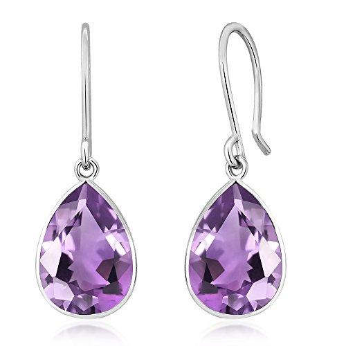 Gem Stone King Sterling Silver Amethyst Frenchwire Dangle Earrings (5.00 cttw, 10X7MM Pear Shape) ()