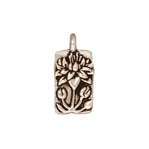TierraCast Floating Lotus Design Pewter Charm, 17mm, Silver Plated