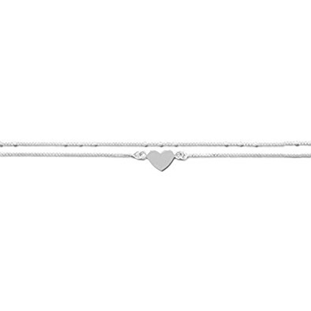 Large Size Double Chain Heart Sterling Silver Anklet - Adjustable 11 - 12 Inches/28-31cms - Anklets For Women M & M Jewellery 92086-11
