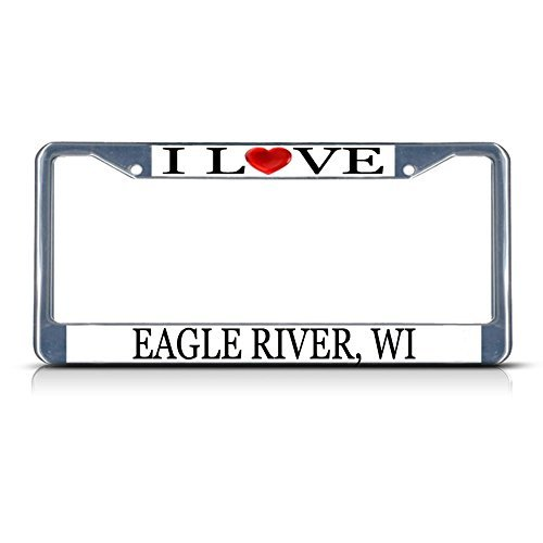 Used, Cukudy Car Auto Tag Holder Chrome I Love Heart Eagle for sale  Delivered anywhere in USA