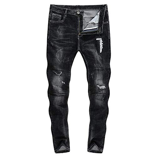 Thick Biker Comodo Zlh A Stretch 2018 Strappati Da Neri 3120 Jeans Gamba Battercake Dritta Uomo Pantaloni wBqgtE4q