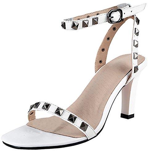 Calaier Womens Salss Open Toe 7cm Sandali Stiletto Con Fibbia Bianco