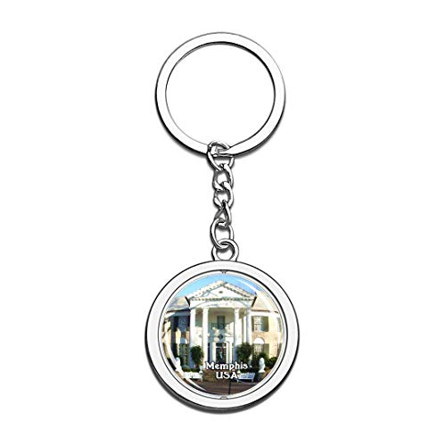 USA United States Keychain Graceland Memphis Key Chain 3D Crystal Spinning Round Stainless Steel Keychains Travel City Souvenirs Key Chain Ring -
